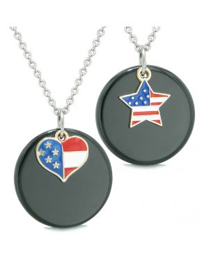Proud American Flag Super Heart and Star Love Couples or BFF Set Black Agate Amulet Necklaces