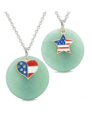 Proud American Flag Super Heart and Star Love Couples or BFF Set Green Quartz Amulet Necklaces