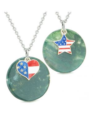 Proud American Flag Super Heart and Star Love Couples or BFF Set Green Agate Amulet Necklaces
