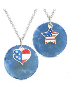 Proud American Flag Super Heart and Star Love Couples or BFF Set Sodalite Amulet Necklaces
