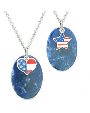 Proud American Flag Super Cute Heart and Star Love Couples BFF Set Sodalite Amulet Necklaces