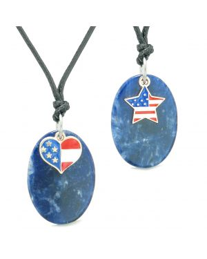Proud American Flag Super Cute Heart and Star Love Couples BFF Set Sodalite Amulet Cord Necklaces
