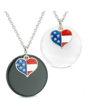Proud American Flag Super Heart Love Couples BFF Set Agate White Simulated Cats Eye Amulet Necklaces
