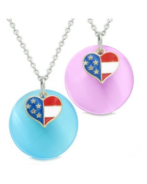 Proud American Flag Super Heart Love Couples or BFF Set Blue Pink Simulated Cats Eye Amulet Necklaces