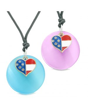 Proud American Flag Super Heart Love Couples or BFF Set Blue Pink Simulated Cat Eye Amulet Cord Necklaces
