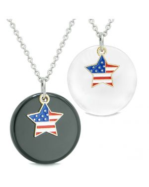 Proud American Flag Super Star Love Couples BFF Set Agate White Simulated Cats Eye Amulet Necklaces