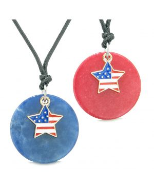Proud American Flag Super Star Love Couples or BFF Set Sodalite Red Quartz Amulet Cord Necklaces