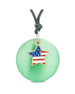 Proud American Flag Spirit Super Star Charm Green Simulated Cats Eye Spiritual Amulet Adjustable Necklace