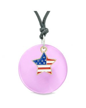 Proud American Flag Spirit Super Star Charm Pink Simulated Cats Eye Spiritual Amulet Adjustable Necklace