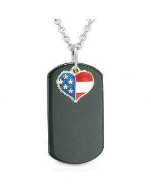 Proud American Flag Spirit Super Heart Dog Tag Lucky Charm Black Agate Protection Amulet 18 Inch Necklace