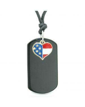 Proud American Flag Spirit Super Heart Dog Tag Lucky Charm Black Agate Protection Amulet Cord Necklace