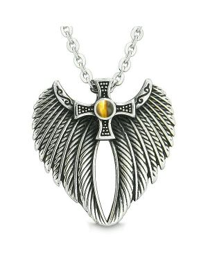 Angel Wings Celtic Viking Cross Magic Powers Amulet Tiger Eye Pendant 18 inch Necklace