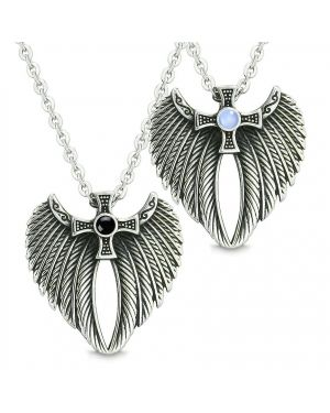 Angel Wings Celtic Cross Wings Celtic Cross Couples Best Friends Simulated Onyx Simulated Blue Cats