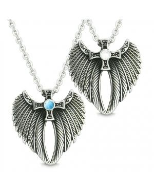 Angel Wings Celtic Cross Love Couple Best Friends Simulated Turquoise Simulated Cats Eye Necklaces