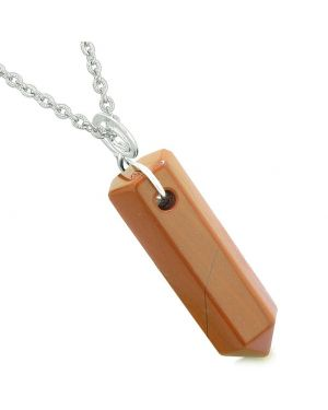 Amulet Lucky Crystal Point Spiritual Protection Powers Wand Charm Red Jasper Pendant 18 inch Necklace