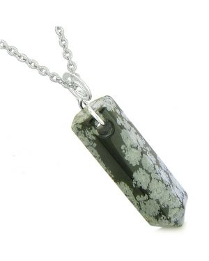 Amulet Lucky Crystal Point Spiritual Protection Powers Wand Snowflake Obsidian Pendant 22 inch Necklace