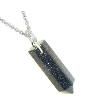 Amulet Lucky Crystal Point Spiritual Protection Powers Wand Charm Blue Goldstone Pendant 18 inch Necklace