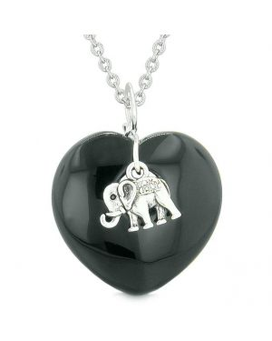 Lucky Elephant Charm Amulet Puffy Magic Powers Heart Black Agate Pendant 18 inch Necklace
