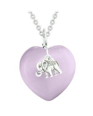 Lucky Elephant Charm Amulet Puffy Magic Powers Heart Purple Simulated Cats Eye Pendant Necklace