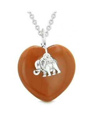 Lucky Elephant Charm Amulet Puffy Magic Powers Heart Red Jasper Pendant 18 inch Necklace