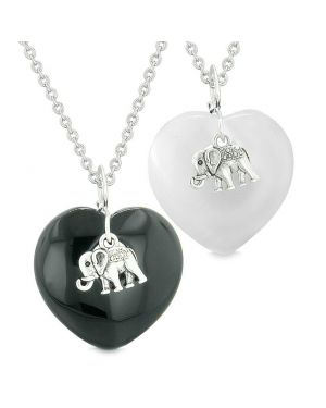 Lucky Elephant Charms Love Couples or Best Friends Amulets Agate White Simulated Cats Eye Necklaces