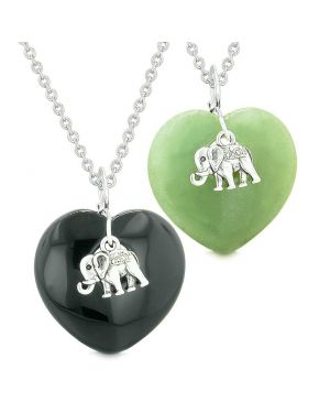 Lucky Elephant Charms Love Couples or Best Friends Amulets Black Agate Green Quartz Necklaces