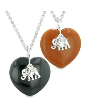 Lucky Elephant Charms Love Couples or Best Friends Amulets Black Agate Red Jasper Necklaces