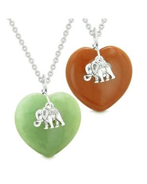 Lucky Elephant Charms Love Couples or Best Friends Amulets Green Quartz Red Jasper Necklaces