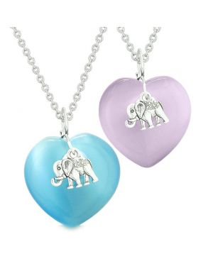 Lucky Elephant Charms Love Couples Best Friends Amulets Blue Purple Simulated Cats Eye Necklaces