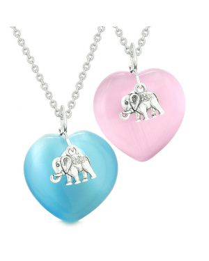 Lucky Elephant Charms Love Couples Best Friends Amulets Sky Blue Pink Simulated Cats Eye Necklaces