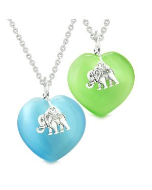Lucky Elephant Charms Love Couples Best Friends Amulets Sky Blue Green Simulated Cats Eye Necklaces