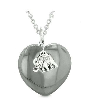 Lucky Elephant Charm Amulet Puffy Magic Powers Heart Hematite Pendant 22 inch Necklace