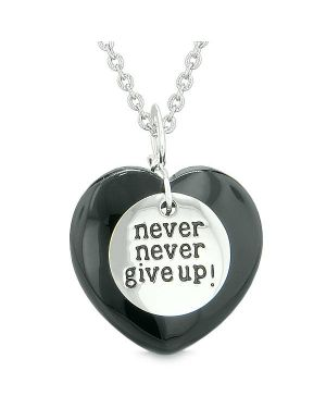 Amulet Never Give Up Inspirational Puffy Magic Lucky Heart Charm Black Agate Pendant Necklace