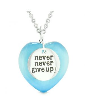 Amulet Never Give Up Inspirational Puffy Magic Heart Sky Blue Simulated Cats Eye Pendant Necklace