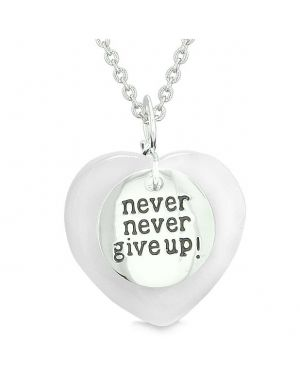 Amulet Never Give Up Inspirational Puffy Magic Heart White Simulated Cats Eye Pendant Necklace