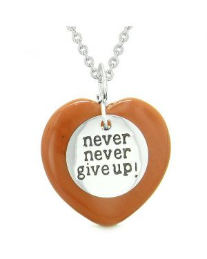 Amulet Never Give Up Inspirational Puffy Magic Lucky Heart Charm Red Jasper Pendant Necklace