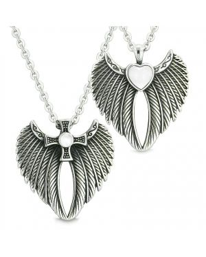 Angel Wings Heart and Magic Cross Love Couples or Best Friends White Simulated Cats Eye Necklaces