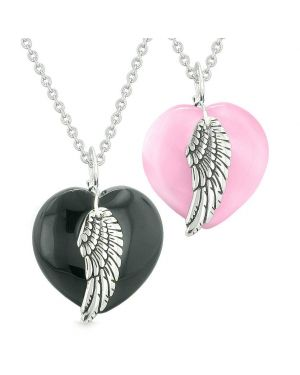 Amulets Angel Wing Hearts Love Couples or Best Friends Agate Pink Simulated Cats Eye Necklaces
