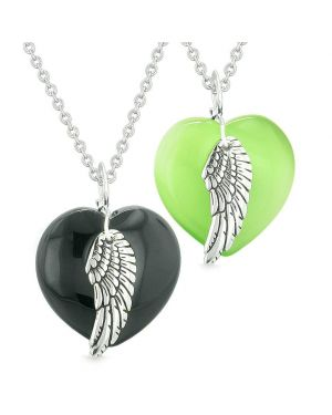 Amulets Angel Wing Hearts Love Couples Best Friends Agate Green Simulated Cats Eye Necklaces