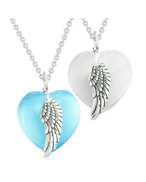 Amulets Angel Wing Hearts Love Couples or Best Friends White Sky Blue Simulated Cats Eye Necklaces
