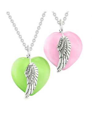 Amulets Angel Wing Hearts Love Couples or Best Friends Green Pink Simulated Cats Eye Necklaces