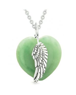 Guardian Angel Wing Inspirational Amulet Magic Puffy Heart Green Quartz Pendant 18 inch Necklace