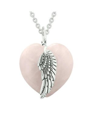 Guardian Angel Wing Inspirational Amulet Magic Puffy Heart Rose Quartz Pendant 22 inch Necklace