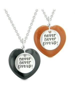 Amulets Never Give Up Love Couples or Best Friends Puffy Hearts Black Agate Red Jasper Necklaces