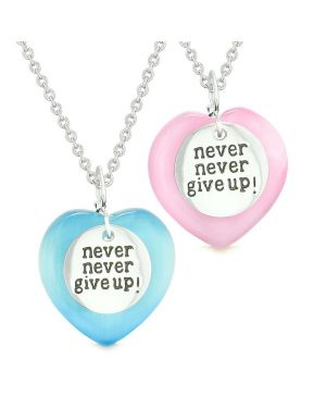 Amulets Never Give Up Love Couples Best Friends Hearts Pink Sky Blue Simulated Cats Eye Necklaces