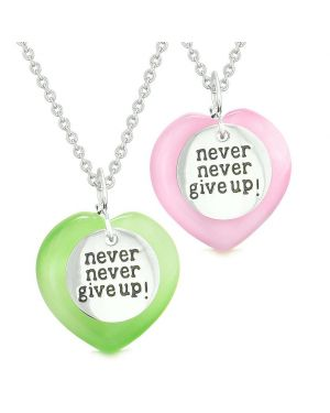 Amulets Never Give Up Love Couples Best Friends Hearts Pink Green Simulated Cats Eye Necklaces