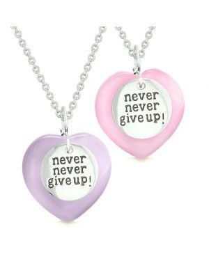 Amulets Never Give Up Love Couples or Best Friends Hearts Pink Purple Simulated Cats Eye Necklaces