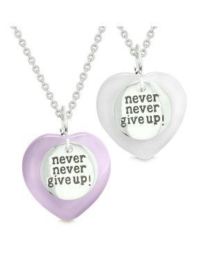 Amulets Never Give Up Love Couples or Best Friends Hearts Purple White Simulated Cats Eye Necklaces