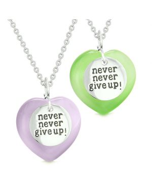 Amulets Never Give Up Love Couples or Best Friends Hearts Purple Green Simulated Cats Eye Necklaces