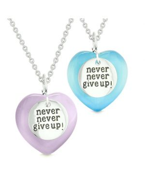 Amulets Never Give Up Love Couples or Best Friends Hearts Purple Blue Simulated Cats Eye Necklaces